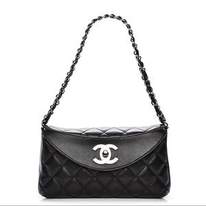 CHANEL Lambskin Quilted Flap Bag Black
